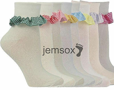 £5.20 • Buy 3 Pairs Girls Gingham Frilled Cotton School Ankle Socks UK Made Various Colours