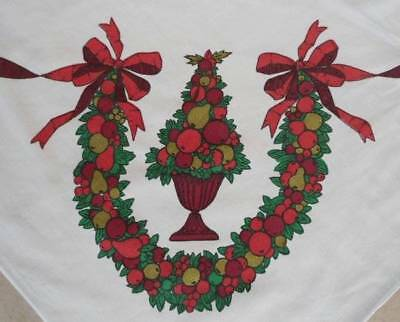 $ CDN32.47 • Buy Large Vintage Printed Cotton Christmas Tablecloth Fruit Topiary Bows Balsam 68