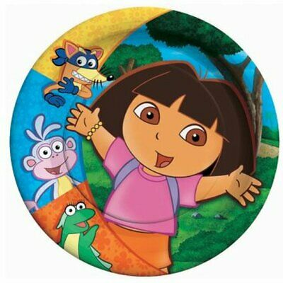 DORA THE EXPLORER Party SMALL PAPER PLATES (8) ~ Birthday Supplies Cake Dessert • 4.79£