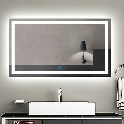 Large Size Bathroom Mirror Light LED Anti-fog Wall Lighted Mirrors With Demister • 74.99£