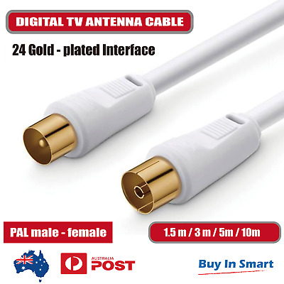 AU4.95 • Buy TV Antenna Extension Cable PAL Male To Female Aerial Flylead Cord 1.5m 3m 5m 10m