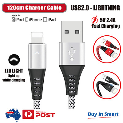 AU5.65 • Buy Lightning USB Charger Cable Cord Braided LED Data Sync Fit Iphone Ipad 6 X 8 7 5