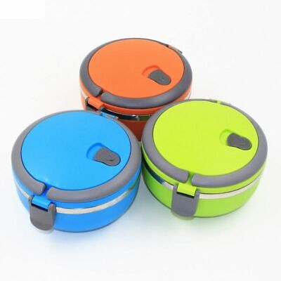 AU21.67 • Buy Stainless Steel Thermal Lunch Box For Kids Food Container Round Heat Thermos NEW