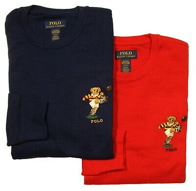$35 • Buy Polo Ralph Lauren Men's Rugby Bear Graphic Waffle Knit Thermal Long Sleeve Shirt