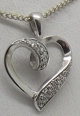 AU130.50 • Buy Solid 9ct White Gold Natural Diamond Heart Pendant