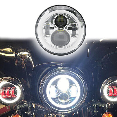 AU46.50 • Buy 7'' INCH Chrome Motorcycle DRL Turn Signal LED Headlight For Harley