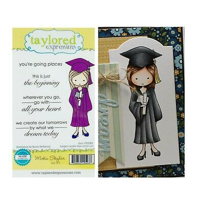 Graduation Girl Rubber Stamp Cling Moka Skylar Taylored Expressions Stamps • 9.97$