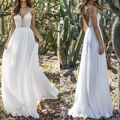 AU28.21 • Buy Women's Strappy V-Neck Backless Bridesmaid Evening Wedding Party Maxi Prom Dress