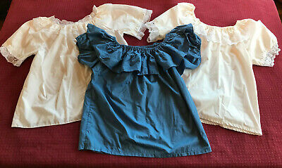 $14.99 • Buy Vintage Blouses SQUARE DANCE Women's Tops - Set Of 3 - Blue And White W/Lace M/L