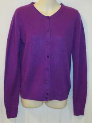 $22.95 • Buy J Crew 100% Cashmere Purple Crew Neck Cardigan May Fit XS Small S