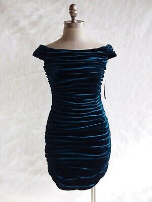 $84.55 • Buy Aidan Mattox Teal Velvet Holiday Dress Ruched Off The Shoulder Body Con 4 RGT 🌹