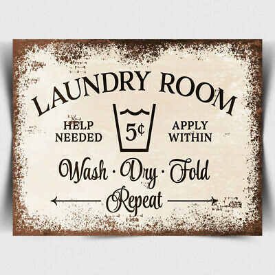 METAL SIGN PLAQUE Laundry Room Washing Clothes Laundrette Humorous Print • 4.45£
