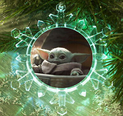 $18.99 • Buy The Mandalorian Star Wars Baby Yoda Snowflake Holiday LT Christmas Tree Ornament