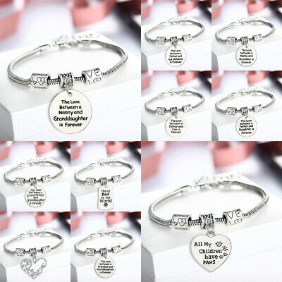 £0.99 • Buy Personalised Christmas Gift Charm Bracelet For Friend Nanny Aunt Mom- Xmas Gifts