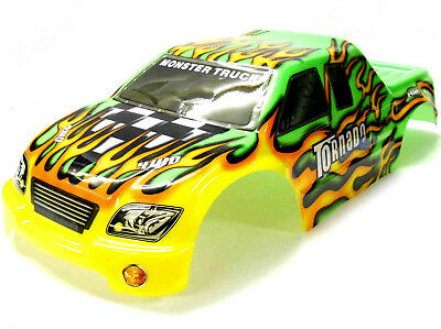 08303 1/8 Scale RC Nitro Monster Truck Body Shell Cover Green Flame Cut • 20.99£