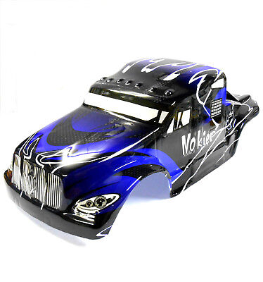 08326 1/8 Scale RC Nitro Monster Truck Body Shell Cover Black Blue Cut • 20.99£