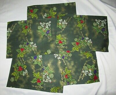 NEW PORTMEIRION THE HOLLY AND THE IVY COTTON PLACE MATS Lot Of 5 Green Christmas • 49.99$