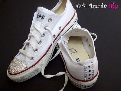 CONVERSE ALL STAR White With SWAROVSKI CRYSTALS And Stars Heel And Toe Bride • 86.70£