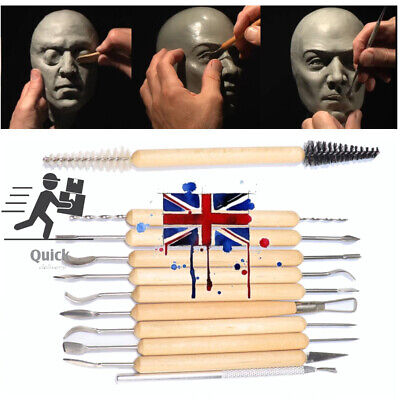 £7.68 • Buy 11x Pro Polymer Clay Sculpting Tools Set Wood Models Art Projects Pottery Tool