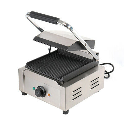 1800W Commercial Panini Press Sandwich Toaster Maker Double Grooved Plate Grill • 125.95£