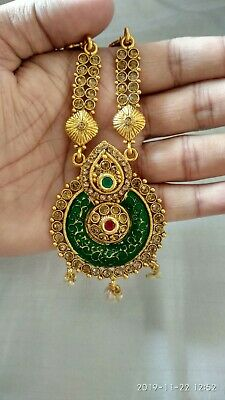 Indian Ethnic Gold Wedding Studded Traditional Long Necklace Earring Set Jewelry • 11.99$