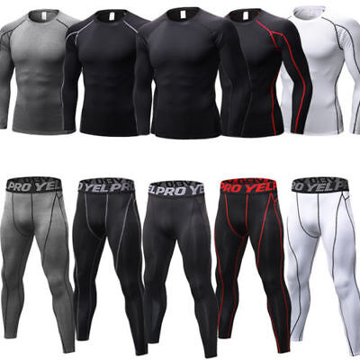 Mens Compression Fitness Base Layer Tops Skin Fit + Leggings Pants Trousers Set • 12.72£