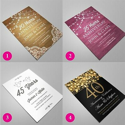 PERSONALISED Invites Anniversary Invitations 10th 15th 20th 30th MANY DESIGNS • 22£