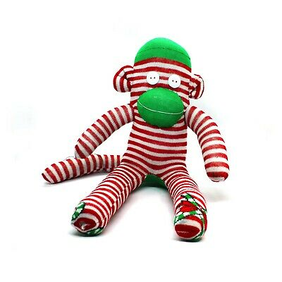 Christmas Sock Monkey Candy Cane Red And White Unique Handmade Christmas Gift • 15.50£