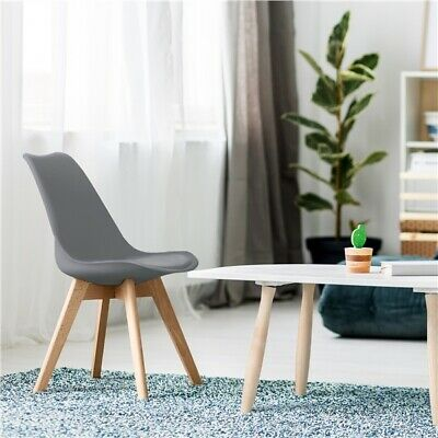 £113.99 • Buy 4pcs Modern Dining Chairs Soft Padded Seat W/Beech Wooden Legs Home/Kitchen/Cafe