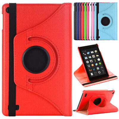 For Amazon Kindle Fire 7 7/9th Gen 2017/2019 PU Leather Stand Cover Rotate Case • 6.32£