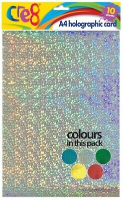 HOLOGRAPHIC METALIC A4 CARD 10 SHEETS 200gsm ARTS CRAFTS GIFT MAKING CRAFTING • 2.65£