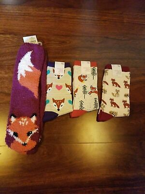 $18.99 • Buy 4 Pair Fox Socks - Old Navy And So Brand -  Women's - Fluffy Fuzzy New Lot
