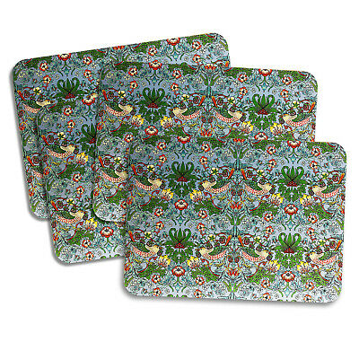 £11.50 • Buy Set Of 4 William Morris Strawberry Thief Teal Placemats Cork Backed Thrush Birds