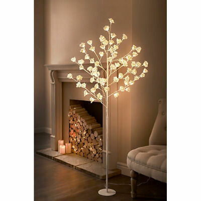 Tall Led Rose Tree Light Floor Lamp White Flower Petals Home Decoration  • 79£