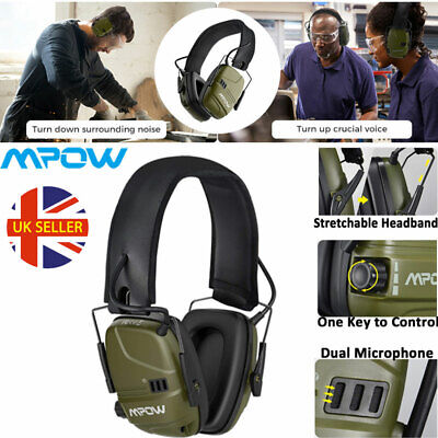 Rechargeable Electronic Ear Defenders ANC Hearing Protection Earmuffs 2 Mic AUX • 29.19£
