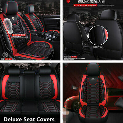 $ CDN175.26 • Buy Deluxe 5-Seats Car Seat Covers Front+Rear PU Leather For Interior Accessories