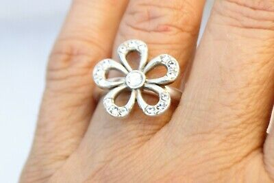 New Brighton Margherita Silver & Crystal Flower Ring Size 9  • 29.90$