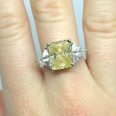 $42.99 • Buy Charles Winston CWE 925 Sterling Silver Yellow Topaz Ring Size 6