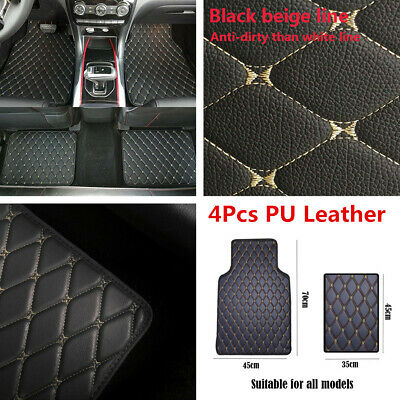 AU43.99 • Buy 4x Universal Car Floor Mat Front Rear PU Leather Carpet Protect Pad Accessories