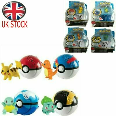 UK Pikachu Throw 'N' Pop Poke Ball Action Figures Doll Kids Pokemon GO Toys Gift • 7.99£