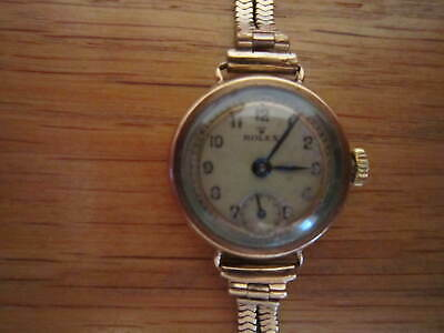 ROLEX 1920s VINTAGE 9K SOLID GOLD MARKED  RWC LTD WATCH 9K SOLID GOLD STRAP • 450£