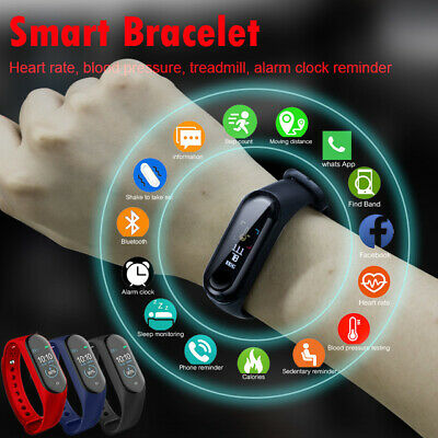 $ CDN17.38 • Buy M4 Smart Band Fitness Tracker Watch Sport Bracelet Heart Rate Pressure Monitor