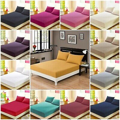 Percale Deep Fitted Sheet Bed Sheet 30cm Single Double King Sking Or Pillow Case • 3.01£