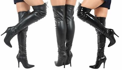 £32.89 • Buy Ladies Thigh High Over The Knee Fetish Boots Front Lace Stiletto Heel Sizes 3-12