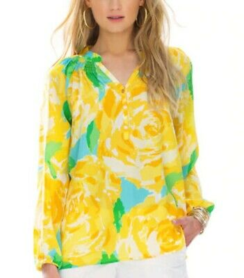 Lilly Pulitzer Silk Elsa Top/Blouse, First Impression Sunglow Yellow, Medium/10 • 44.99$