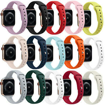 $ CDN8.51 • Buy For Apple Watch Series 5 4 3 2 1 Slim Band Replacement Thin Straps Silicone