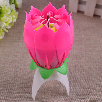 $ CDN2.18 • Buy ROTATING Lotus Candle Birthday Flower Musical Floral Cake Candles /w Music Magic