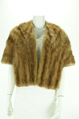 $99.99 • Buy F10421 Real Fur Brown Mink Formal Shawl Stole Cape Coat M
