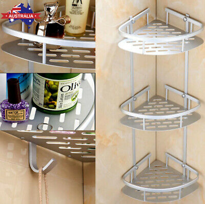 AU24.50 • Buy 3 Tier Aluminium Telescopic Shelf Wall Corner Bathroom Caddy Storage Bath Shower