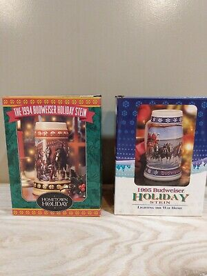 $ CDN43.34 • Buy (2) Vintage Budweiser Holiday Steins 1994-95 With COA Clydesdale Horses